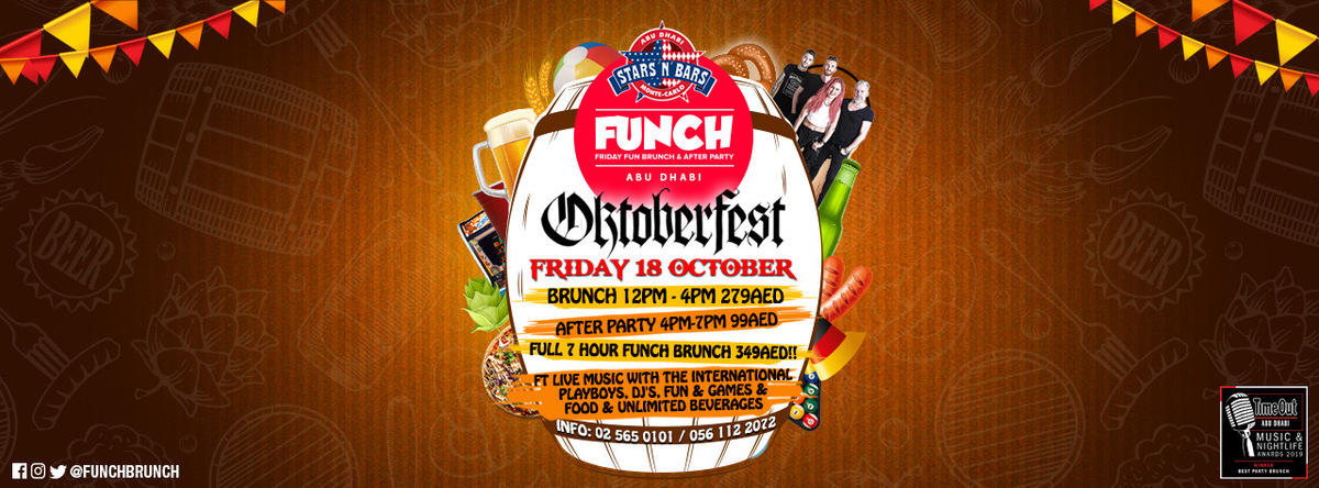 The Award Winning Adults Party Brunch FUNCH (Octoberfest Edition) @ Stars 'n' Bars